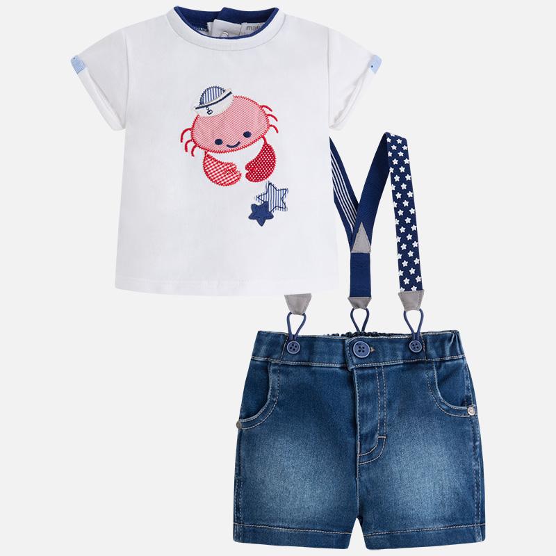 593ef1533c8 Σετ με ρούχα Mayoral για αγόρι με μπλούζα κοντομάνικη και παντελόνι με  τιράντες