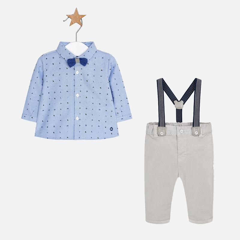5ae96e7737f Σετ ρούχων Mayoral με πουκάμισο με παπιγιόν και γκρι παντελόνι με ...
