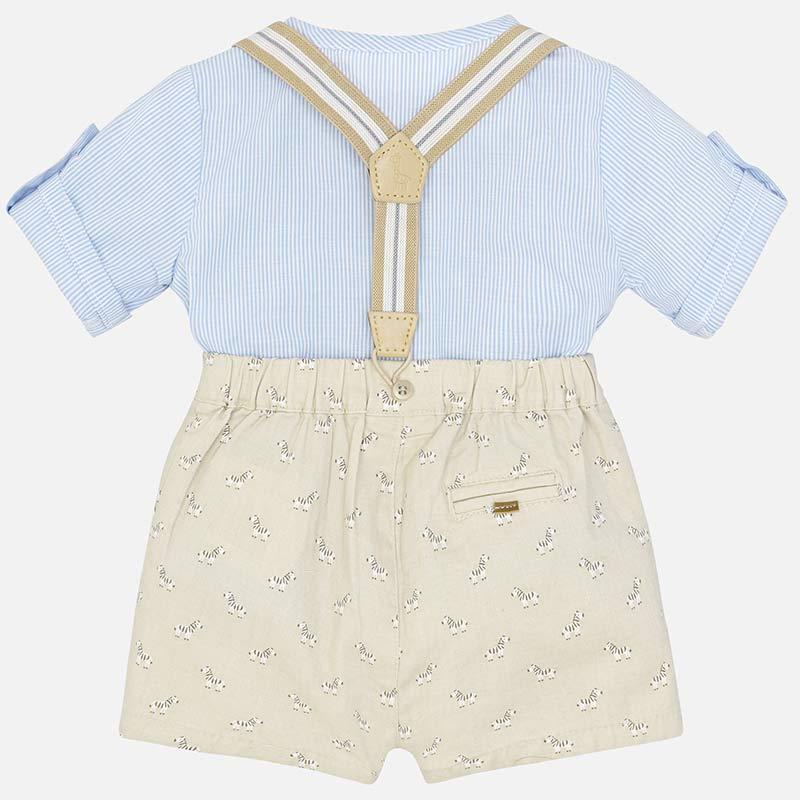 7ca818b03c6 Βρεφικά ρούχα Mayoral για νεογέννητο αγόρι πουκάμισο και βερμούδα με  τιράντες